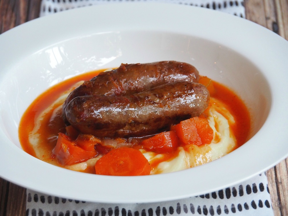 slow cooker sausage casserole plate