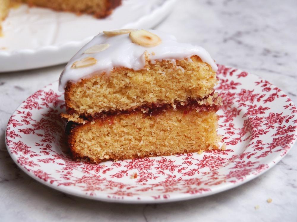 cherry bakewell cake slice