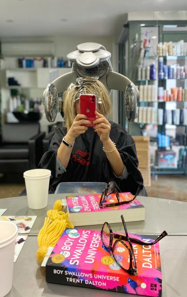 highlights at hairdresser