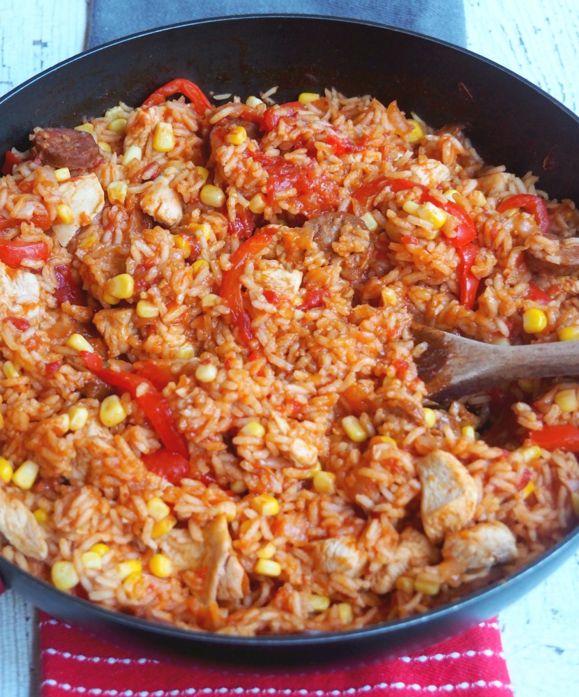 chicken chorizo jambalaya with spoon