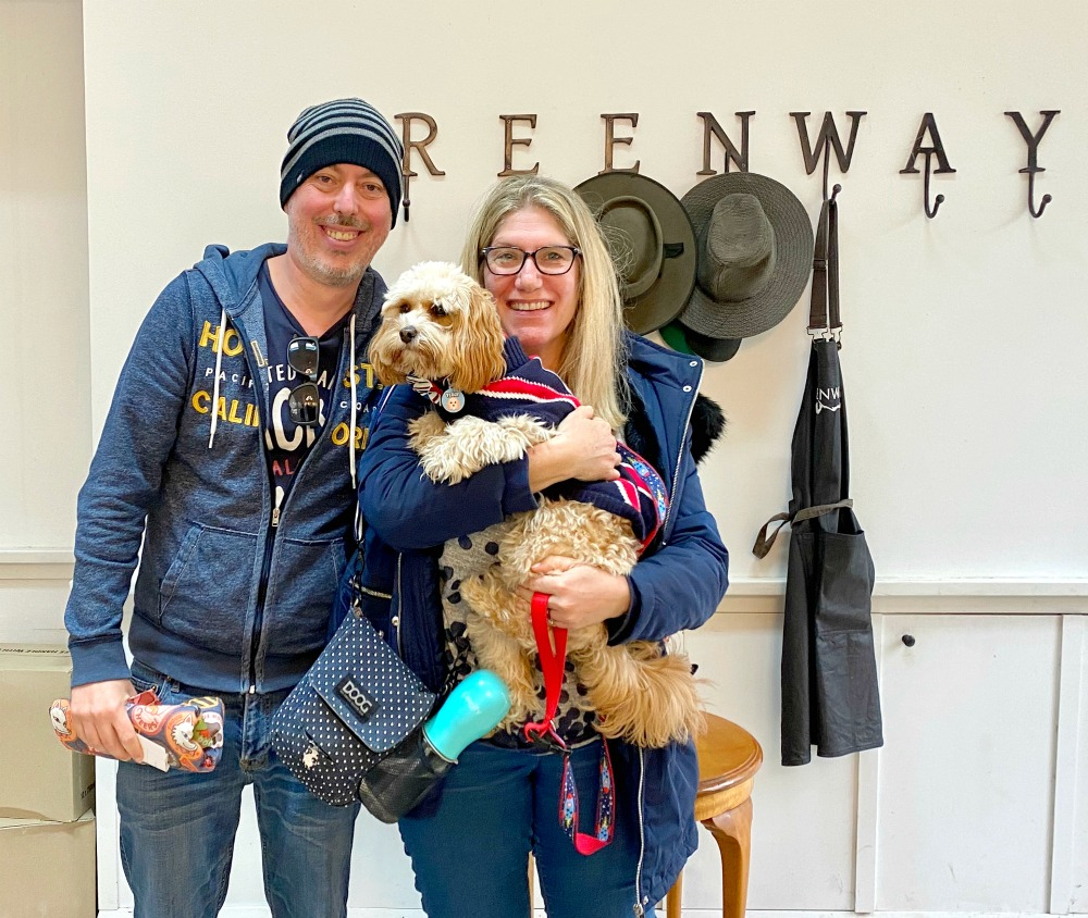 family with dog at greenway wines