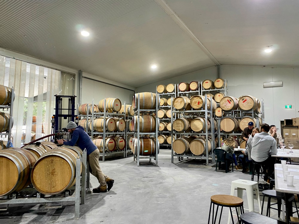 Piggs Peake Cellar door with barrels