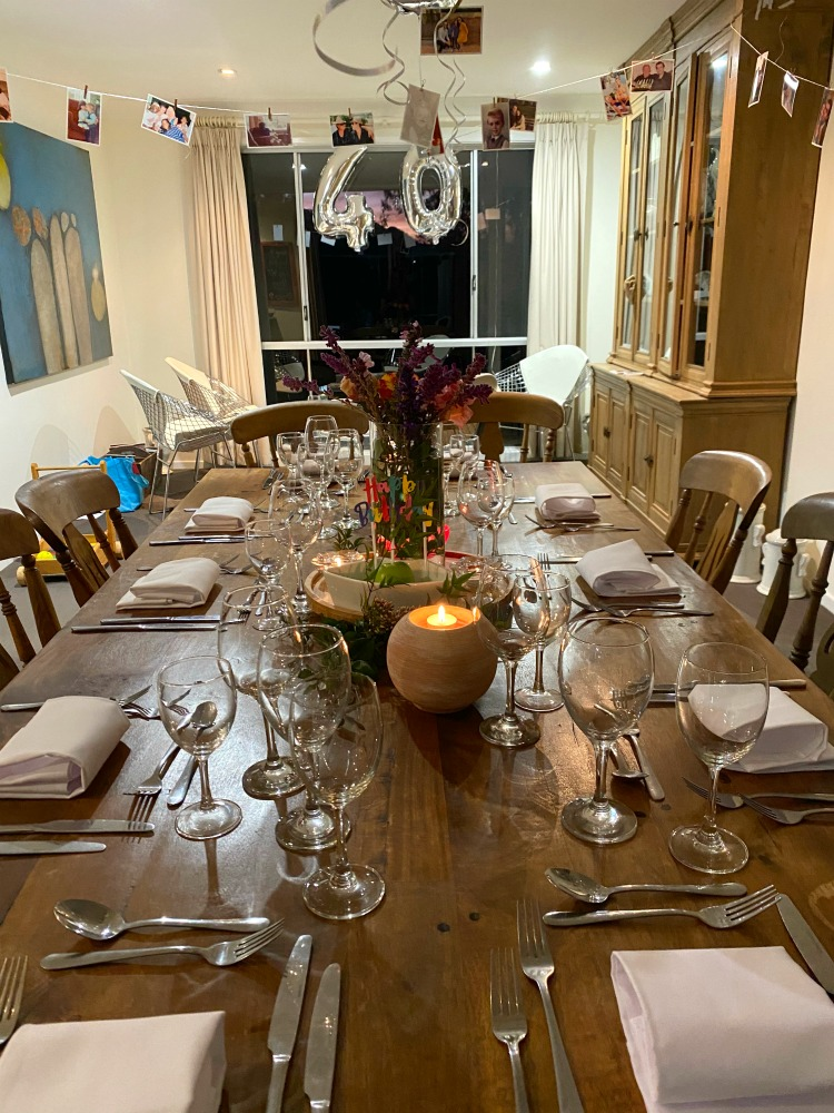 dinner table laid for 40th birthday celebration