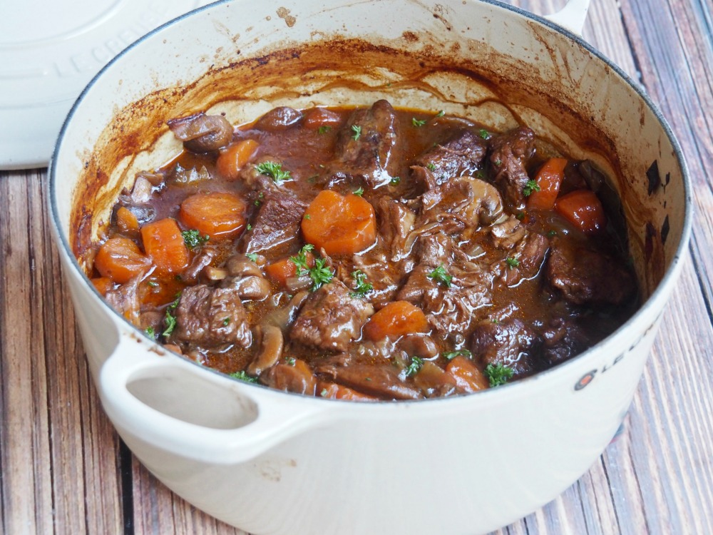 beef ale stew in casserole pot