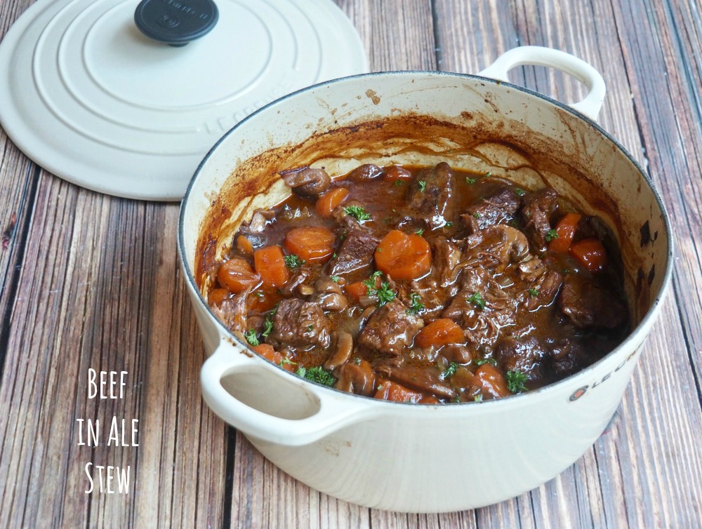 beef and ale stew in casserole pot