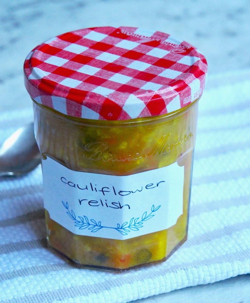 jar of easy cauliflower relish