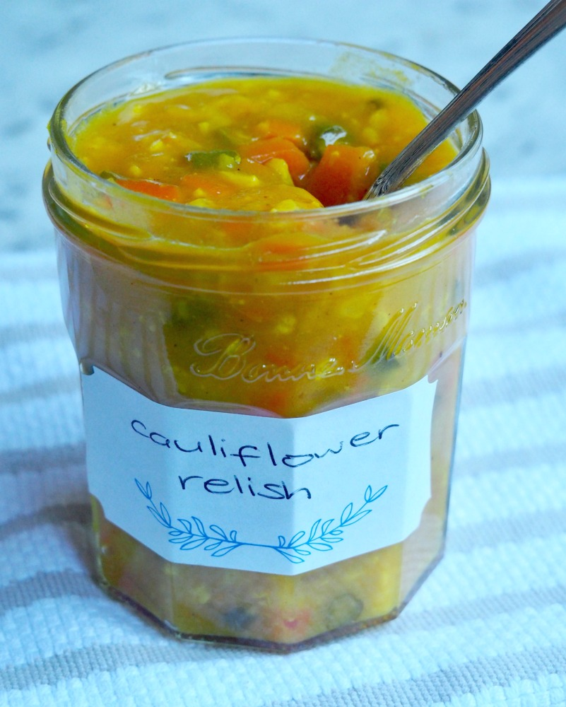 spoon in jar of cauliflower relish