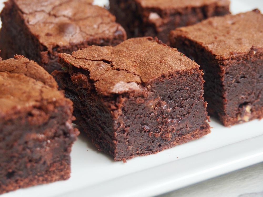 plate of squidgy chocolate orange brownies