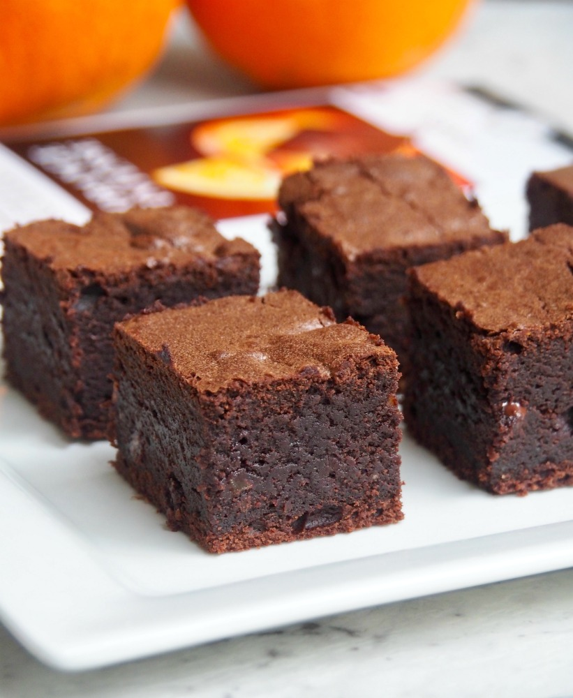 squidgy chocolate orange brownies with lindt excellence bar in background