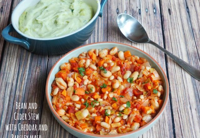 Meatless Monday – Bean and Cider Stew with Cheddar and Parsley Mash
