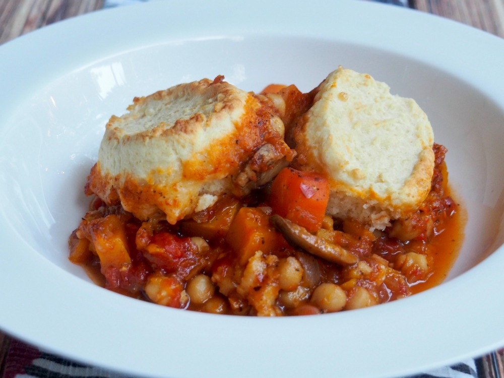 harissa vegetable stew with cheddar dumplings title