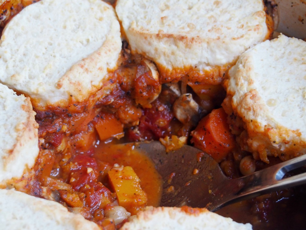 pot of harissa vegetable stew with spoon