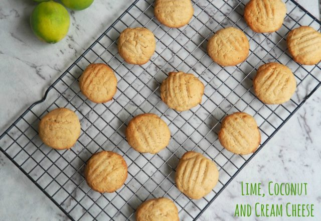 Lime, Coconut and Cream Cheese Cookies