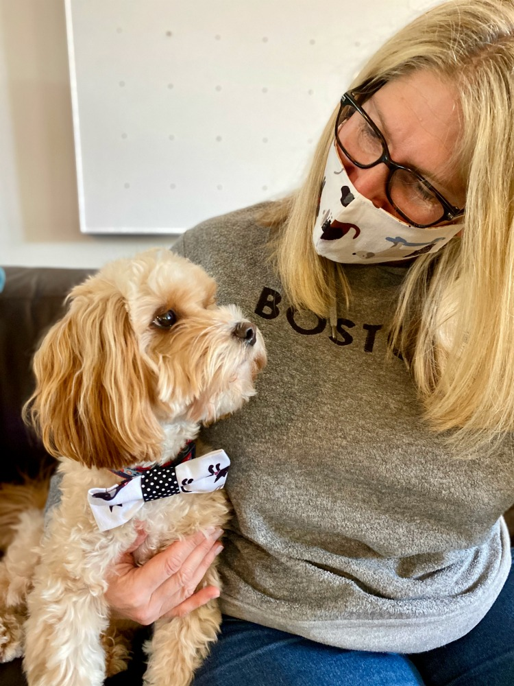woman wearing mask looking at dog with matching bow