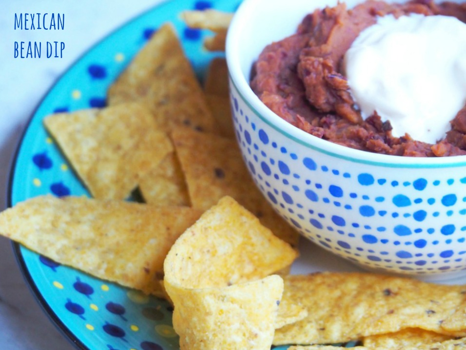 side view of Mexican bean dip with corn chips