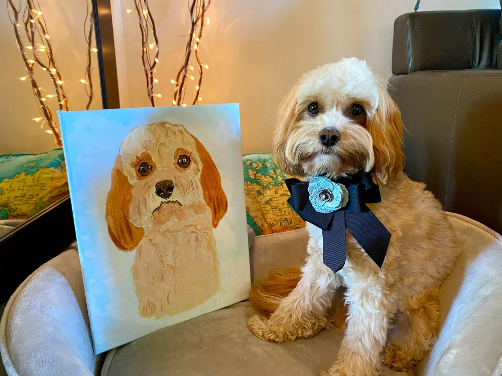 dog looking at portrait of himself