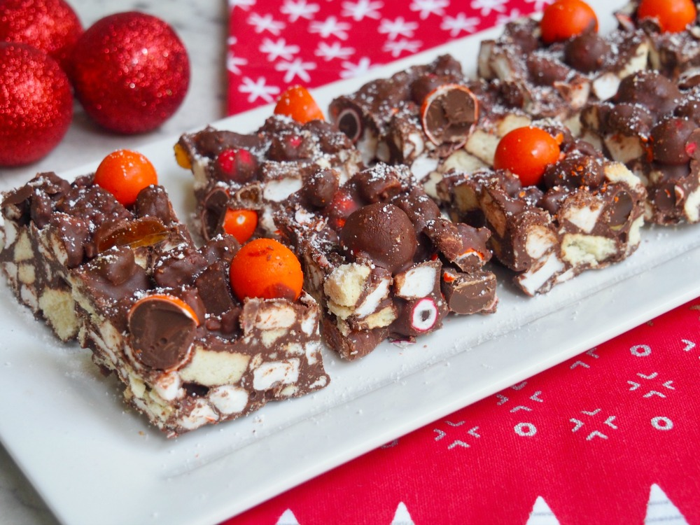 plate of chocolate orange rocky road