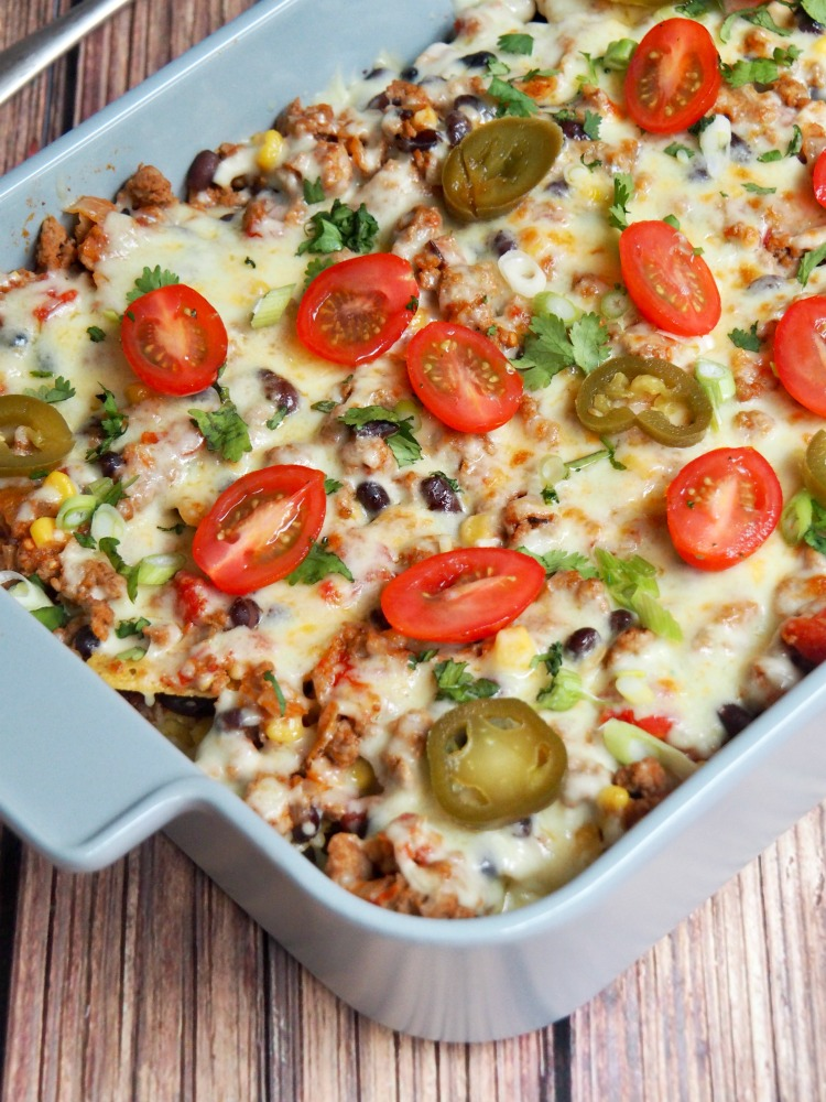 loaded turkey nachos dish