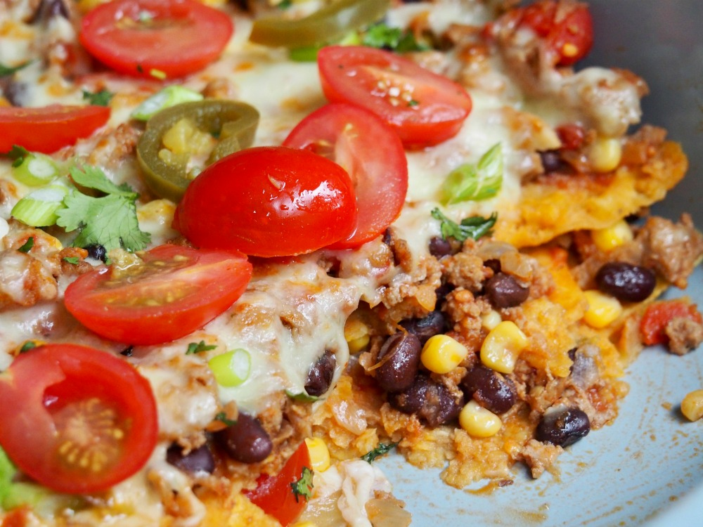 inside loaded turkey nachos