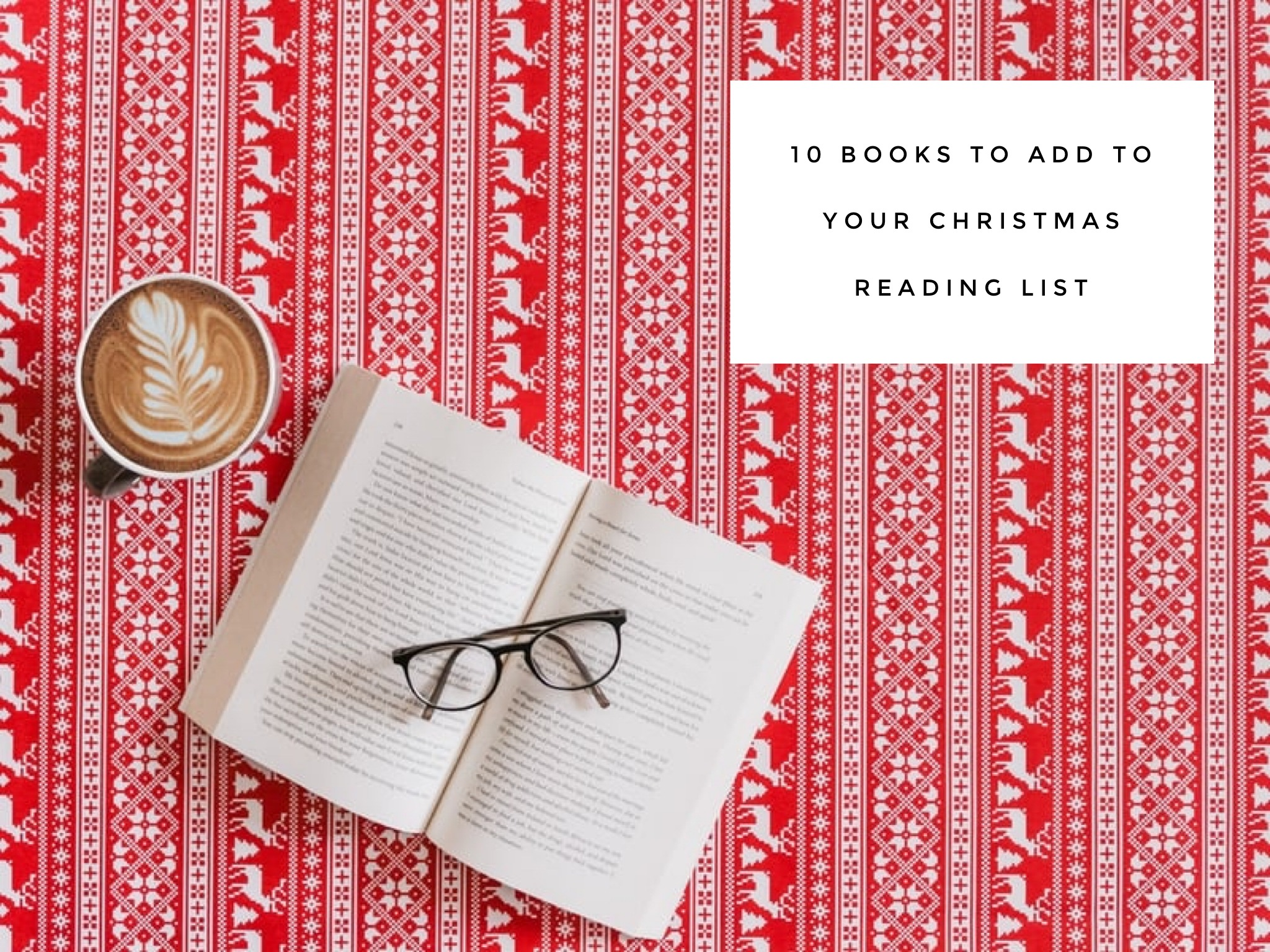 coffee open book and glasses on red scandi background