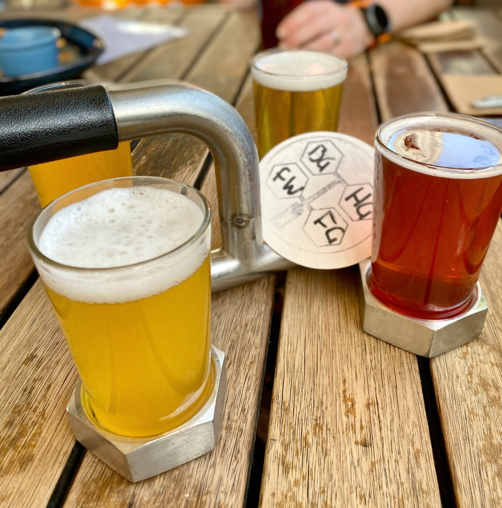 beer paddle of four beers