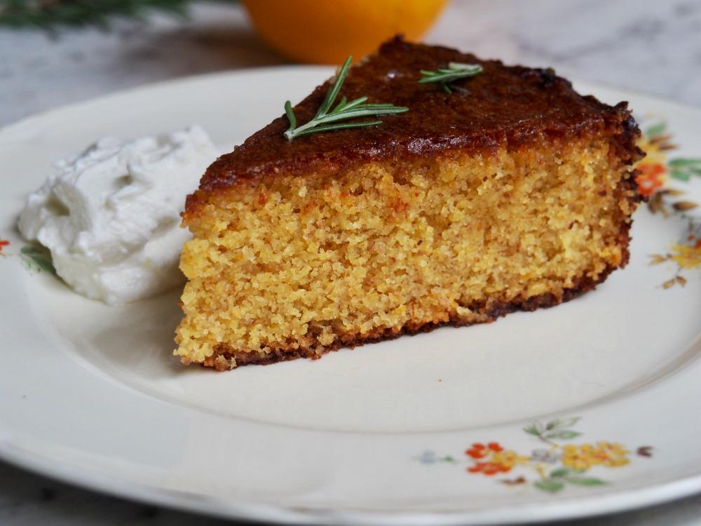 slice of gluten free dairy free orange cake