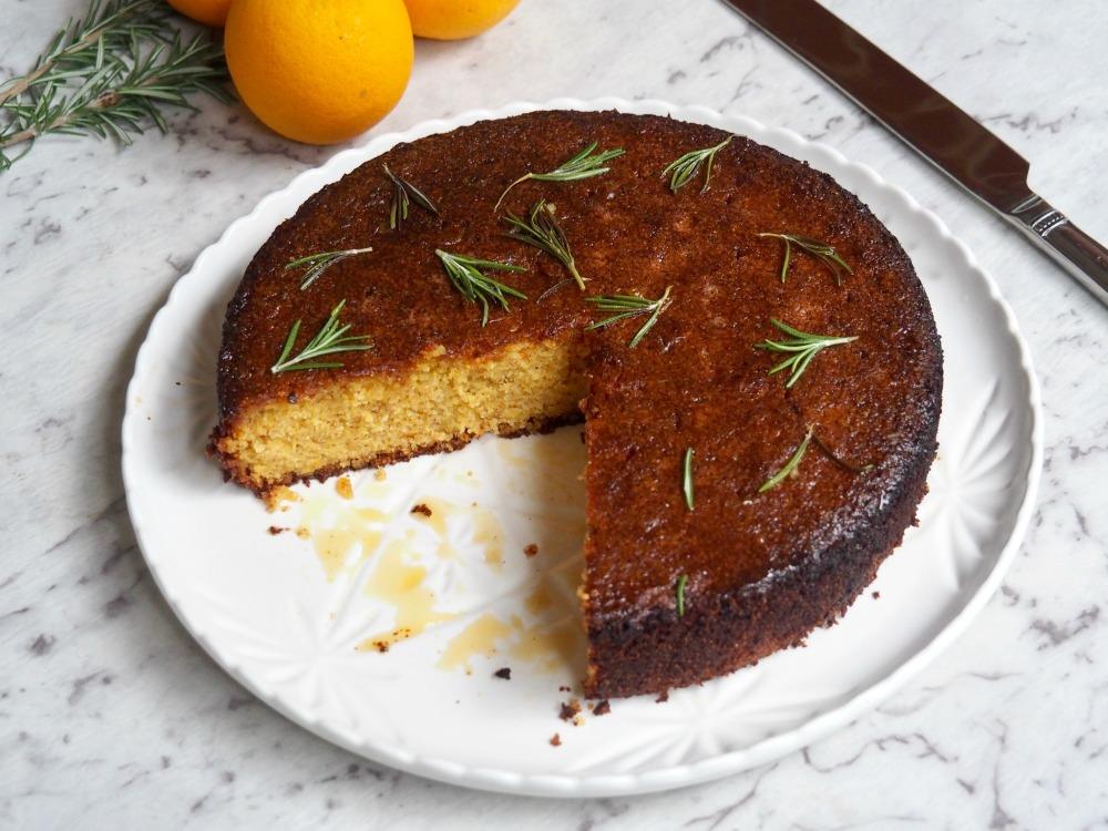 gluten free dairy free orange cake cut