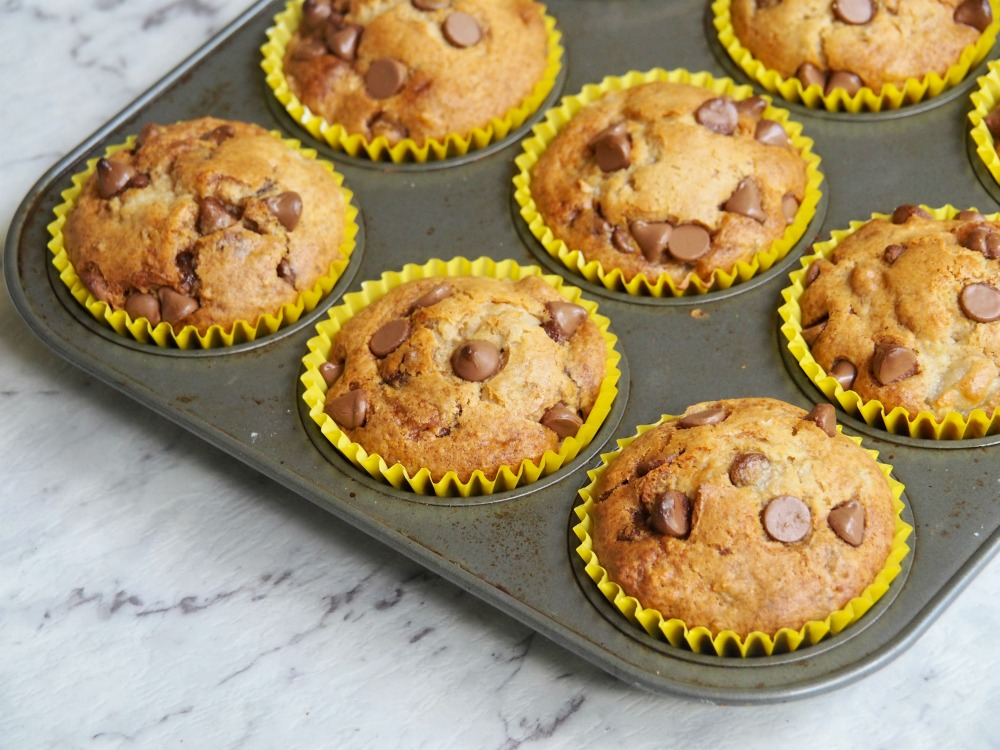 pear and choc chip muffins in muffin tin