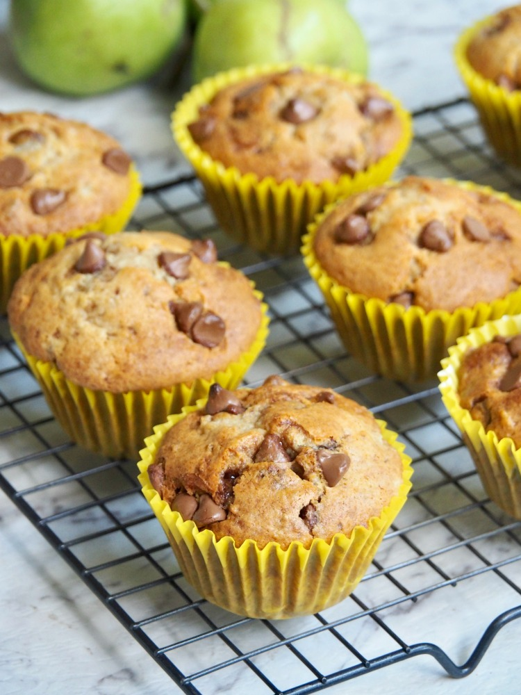 pear choc chip muffins on cooling rack