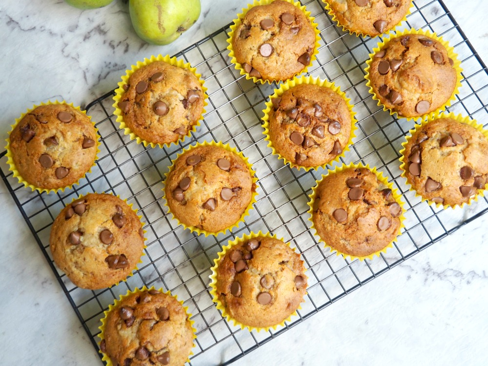 pear and choc chip muffins on cooling rack from above