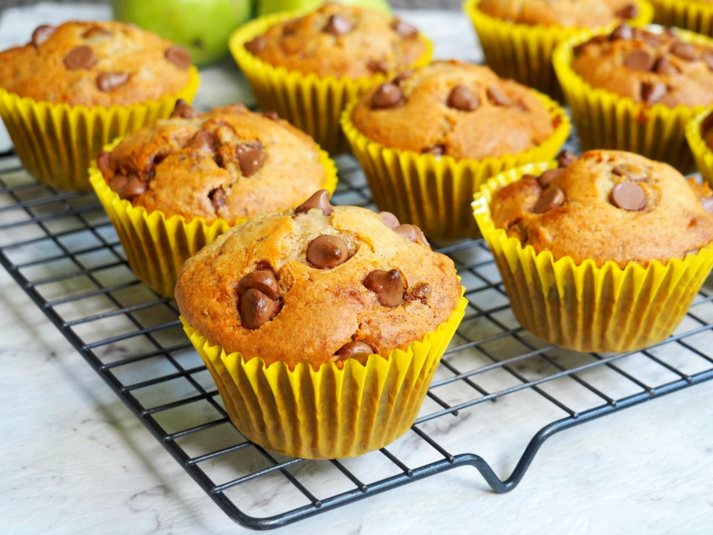 pear and choc chip muffins on cooling rack