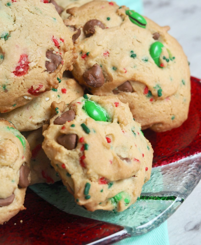 fully loaded choc chip m and m christmas cookies