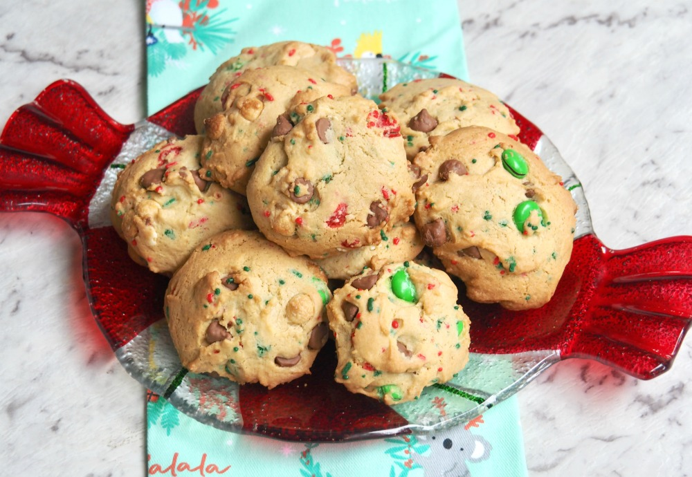 plate of choc chip and m and m christmas cookies