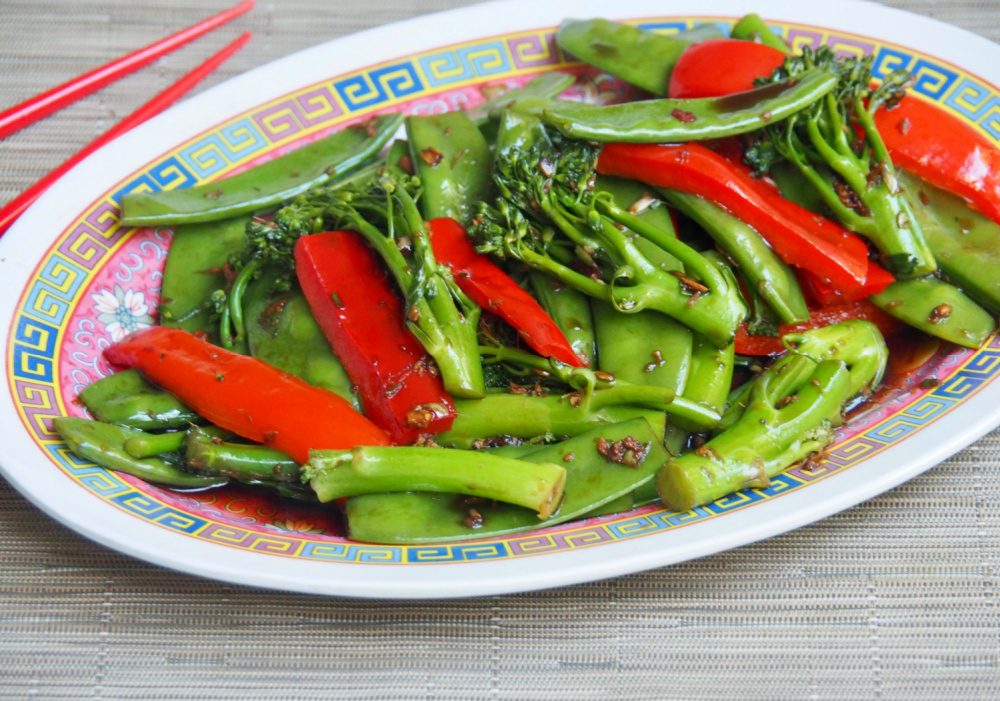 steamed asian veggies on a plate