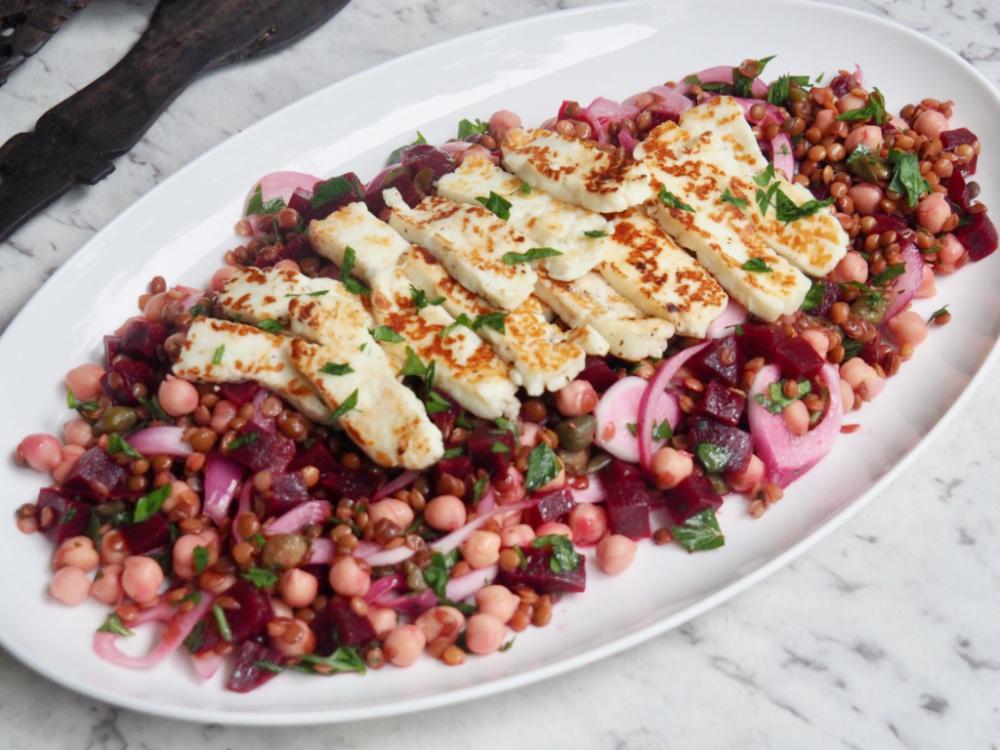 store cupboard halloumi salad on platter