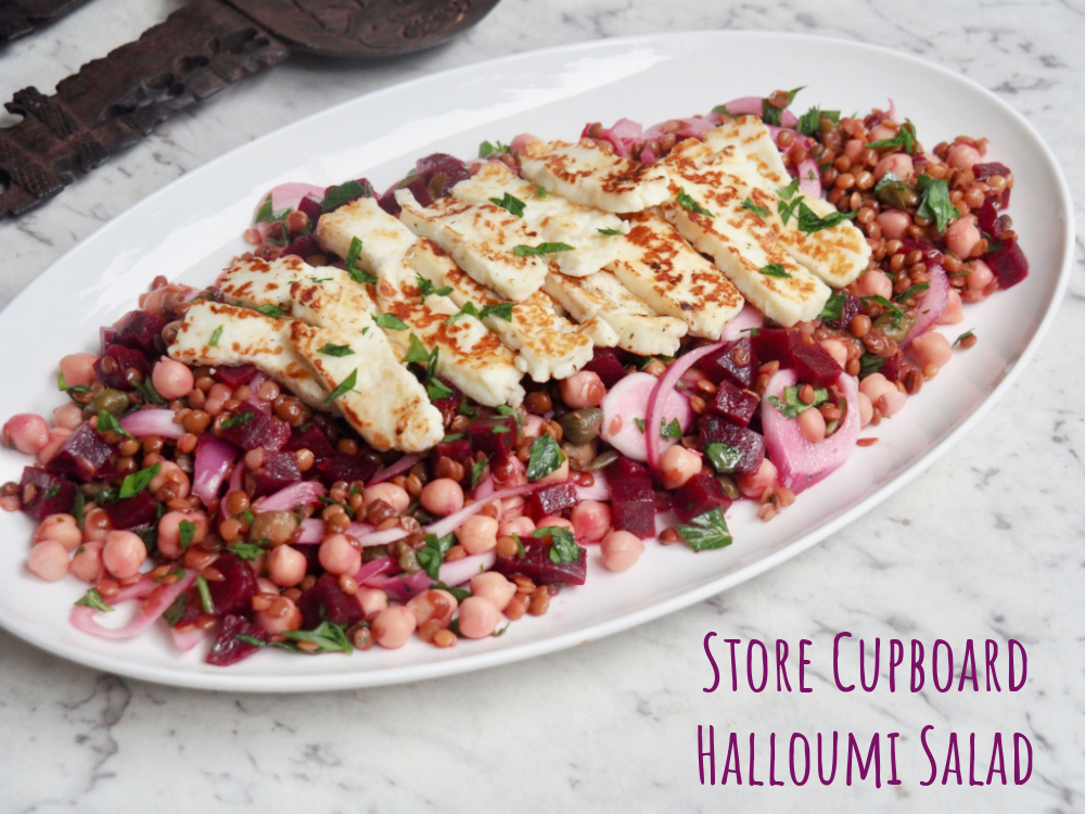 lentil chickpea and beetroot salad topped with halloumi