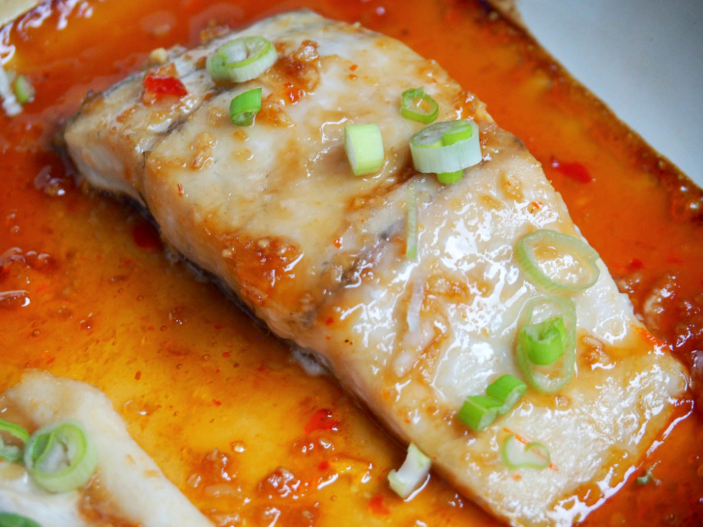 baking dish with soy and sweet chilli fish