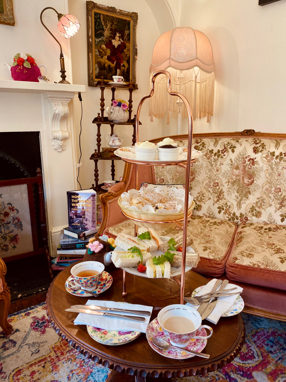 Old fashioned parlour with high tea stand