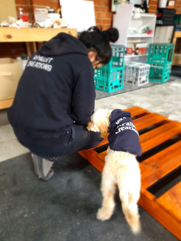 dog helping woman do woodwork