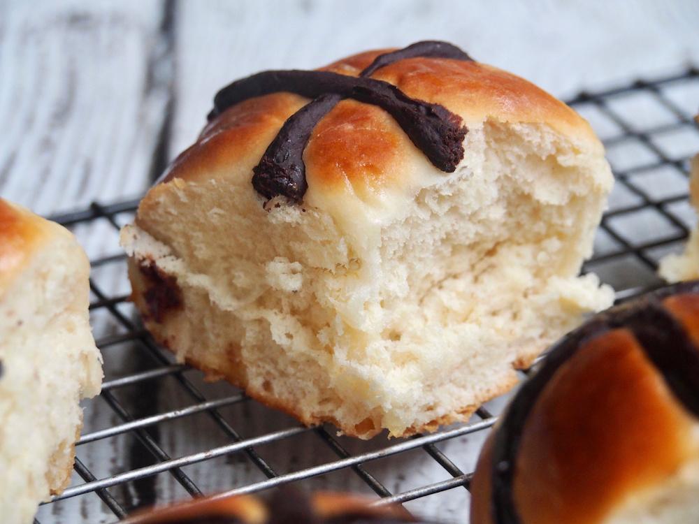 choc fudge hot cross bun inside view