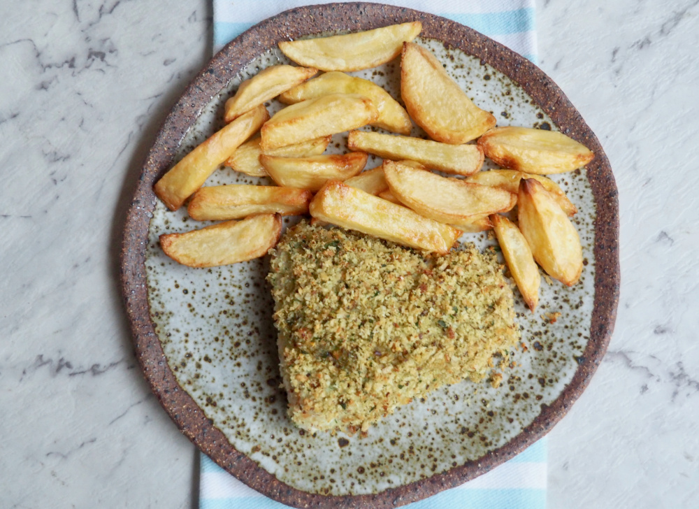 crumbed fish and handcut chips from above