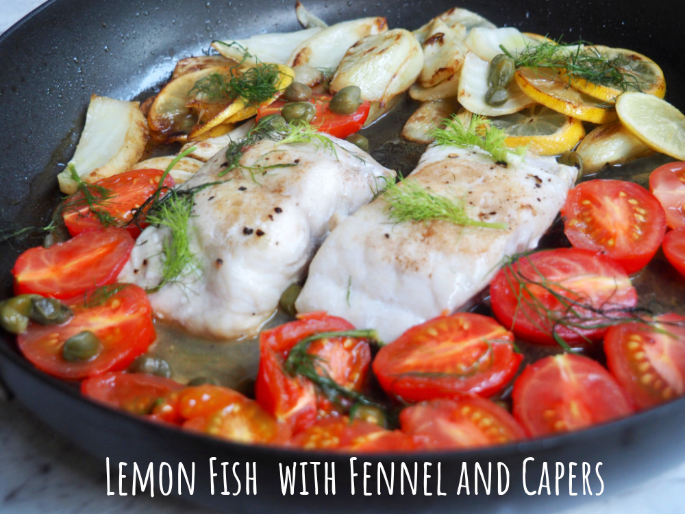 lemon and fish with fennel and capers in a pan