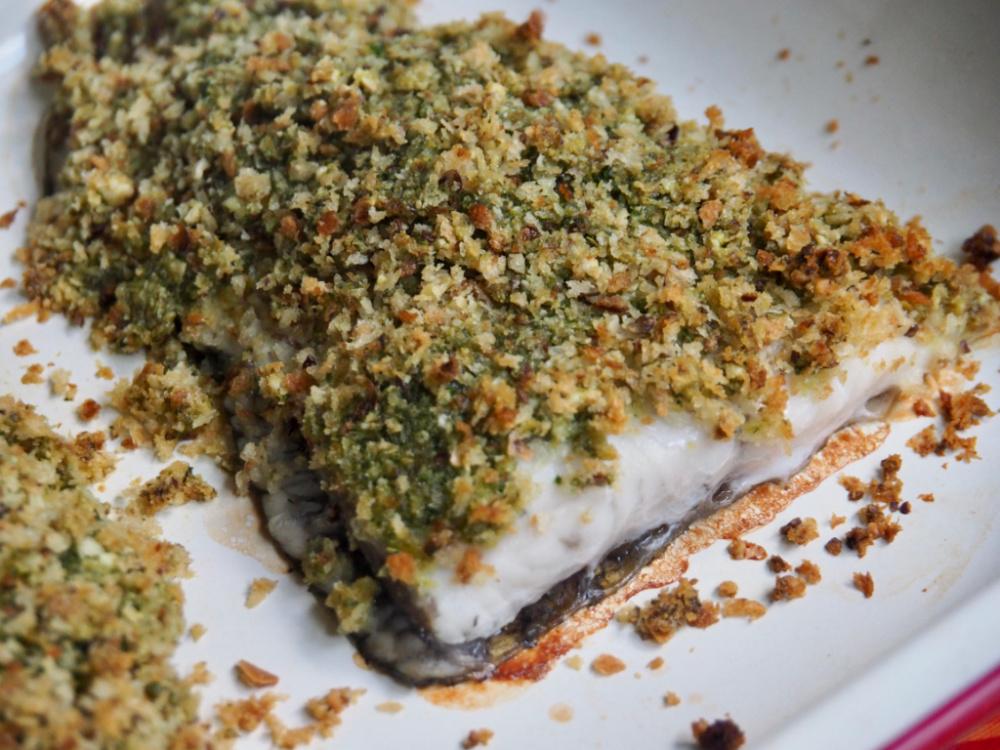 4 ingredient pesto dish in baking dish