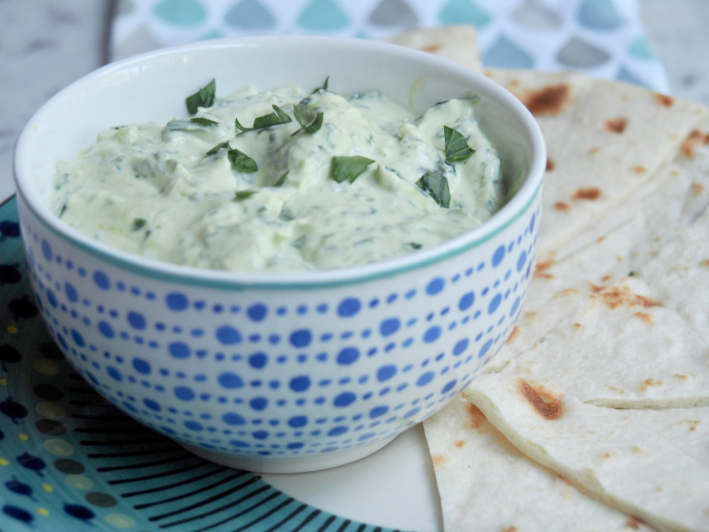 bowl of spinach feta dip side view