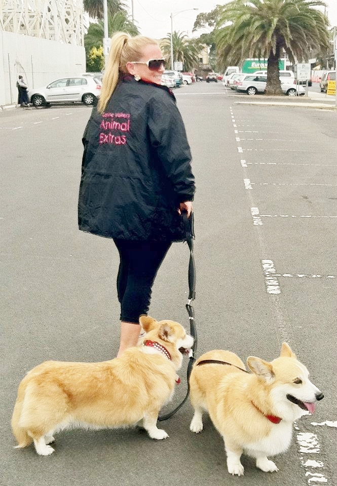 woman in black jacket leading two dogs behind her