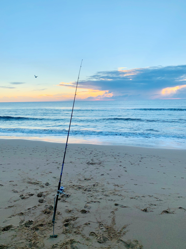 fishing rod stuck in sand next to ocean with sunrise