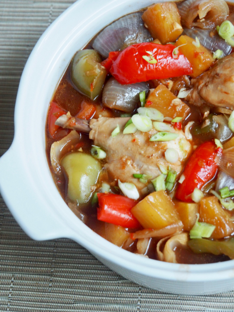 side view of dish of slow cooker sweet and sour chicken