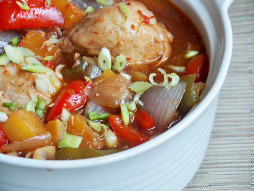 side view of slow cooker sweet and sour chicken