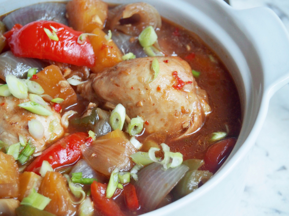 slow cooker sweet and sour chicken casserole dish