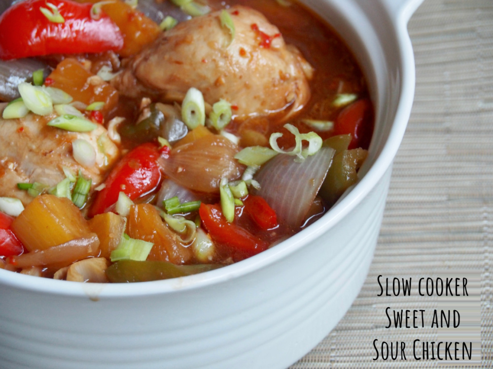 pot of slow cooker sweet and sour chicken